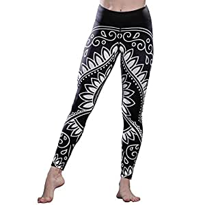 FavoBodinn Women's Sports Vest Set Yoga Clothing Suits, Running Tank Top & Pants Gym Outfits for Exercise- Fatima's Hand Pattern Design (Black Legging, S)