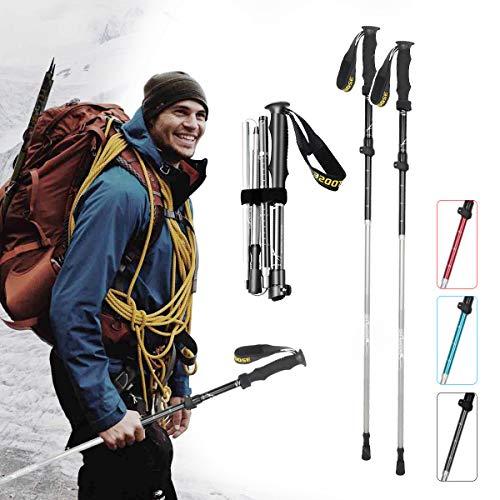 XJD Bastones de Senderismo Plegables 2 Unidades Bastón de Trekking con Aluminio 7075 Altura Ajustable Ultraligero Sistema de Bloqueo Rápido para Caminar Escalada y Camping (Negro, 95-110cm)