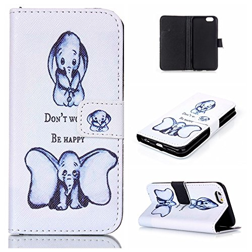 Uming® Bunte Retro Muster Druck PU Hülle (* für Iphone 5S 5G 5 IPhone5 IPhone5S SE IPhoneSE Apple5S | 2 Dumbo *) PU Fall Case Schlag Lederholster mit Ständer Stander Halter Hand Free Credit Card Slot  2 Dumbo