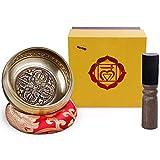 Rovtop Cuenco Tibetano a Mano para la Meditación Chakra Healing, Oración, Yoga, Budismo y Sanación a través de la Vibración Cuenco, Incluye un Cojín y la Baqueta...