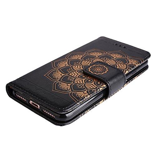 iPhone 7 Leder Hülle Mandala, Rosa Schleife PU Ledertasche Flip Wallet Book Cases TPU inner Soft Backcover Mandala Muster Schutzhülle mit Magnetverschluss und Standfunktion Handyhülle für iPhone 7 Schwarz