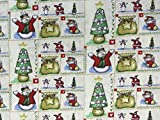 Stoff mit Weihnachtsmotiv, bunt, 100% Baumwolle, zum