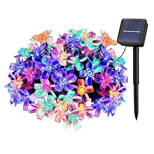 Solarbetriebene Garten Lichterkette 7m mit 50 Blume LED Außenlichterkette Wasserdicht Partylichterkette für Hochzeit,Festspiele,Zaun,Sonnenschirm,Terrasse,Haus und Außen Deko (Multi Color)