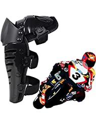 Max & Mix Professionnelle 1 paire de roues enforcer adulte genou / Shin Guard Gear Flexible respirant ajustable Motocross genoux Armure de moto Protector Gardes ?quipement - noir / taille unique