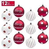 Christbaumkugeln 12pcs bruchsicher Weihnachtsbaum Dekoration Ornamente 80mm Handarbeit für Weihnachtsfeier Hochzeit Dekor (80mm, rot und weiß)