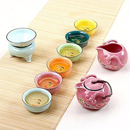 SSBY Colorata disegnati a mano lotus carp ceramica kung fu set da tè colorato il vostro forno cup confezione regalo,un