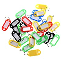 CSbrands Pack of 50 Plastic Colour Key Tags with Paper Inserts Split Rings