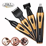 Nose Hair Trimmer, Rechargeable Electric 4 in 1 Set for Trimming Nose&Ear Hair, Eyebrow, Sideburn and Beard Clipper for Men/Women, YUMOMO Waterproof Rotating Blade (Not USB Charging, Gold)