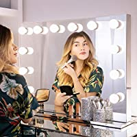 Wellmet Hollywood Makeup Mirror with Lights, Professional Tabletop Illuminated Vanity Mirror for Dressing Table, Large Light Up Makeup Mirror with Smart Dimmable LED Bulbs(8060, Frameless)