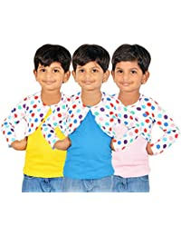 Gkidz Girls Combo Of 3 Graphic Cotton Vest And Shrug Pack of 3 (GIRLS-3PCK-VEST-CMB-6_ Multicolor)