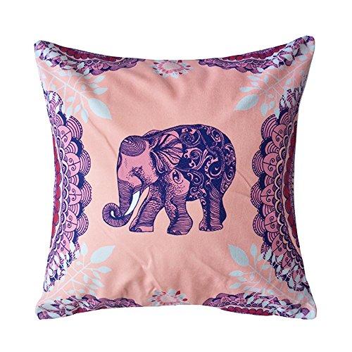 Coolsummer Elephant Pattern Vintage Stampa Digitale quadrato Throw Pillow Cover cuscino decorativo federa Cuscino Custodia per Divano, Letto, Sedia 45,7x 45,7cm, 100% cotone, S012A3, 18 x 18