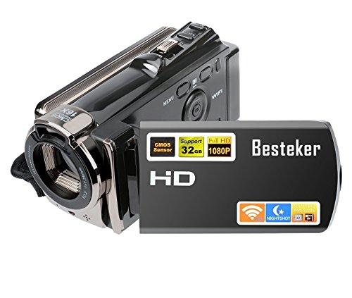 Kamera Camcorder, Besteker Digitale Videokamera FHD 1080P Max 20,0 Megapixeln Infrarot-Nachtsicht WIFI-Funktion mit 3,0 Drehbarem TFT-LCD-Bildschirm (Schwarz)