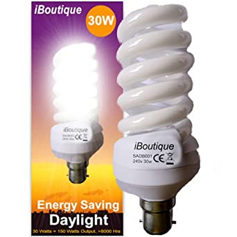 iBoutique® 30W Bayonet (B22) Daylight Energy Saving Light Bulb ...:iBoutique® 30W Bayonet (B22) Daylight Energy Saving Light Bulb Equivalent  Output 150 Watts (Full Spectrum) Great For SAD Sufferers, Snooker, Pool,  Hobbies, ...,Lighting