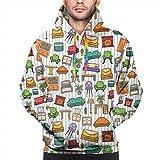 Men's Hoodies Sweatershirt,Various Home Interior Elements Armchair Table Mirror Design Elements Doodle Style,