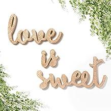 Momento de Ling Independiente de madera LOVE IS SWEET boda Signs para mesa, boda señal