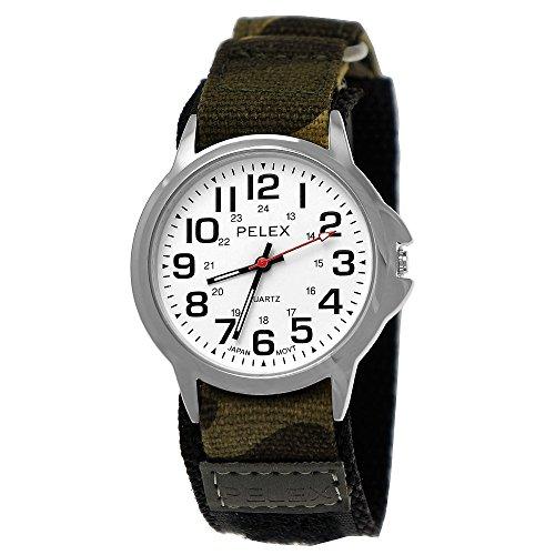 Pelex London Camouflage Kinder-Uhr Jungen-Uhr Mädchen-Uhr für Kinder Analog Quarz Textil Nylon Klettverschluss Armband-Uhr Schwarz Silber Weiß Grün grau Japanisches Qualitäts Uhrwerk (Camouflage Flagge)
