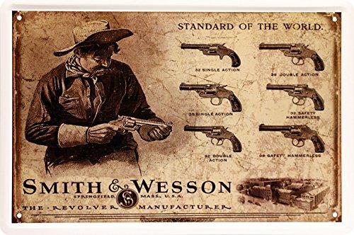 Smith & Wesson Colt Revolver Pistole Blechschild 20 x 30 cm Retro Blech 1041