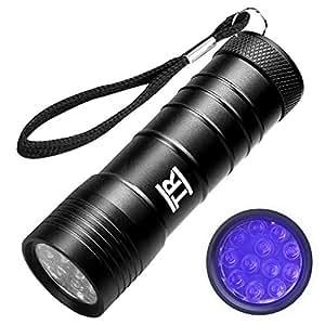 Torcia UV, Techrise 12-led LED UV torcia animali domestici cani/gatti urine detector, ultravioletta torcia trova macchie secche su vestiti, tappeti o pavimenti