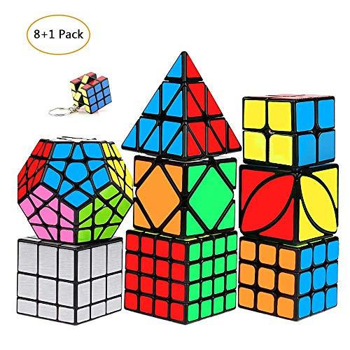 mimisasa Speed Cube Set Confezione da 9 Pack Smooth Speed Cube 2x2 3x3 4x4 Pyramid Megaminx Mirror Skew Cube