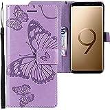 CLM-Tech kompatibel mit Samsung Galaxy S9 Plus Hülle, Tasche aus Kunstleder, großer Schmetterling lila, PU Leder-Tasche für Galaxy S9 Plus Lederhülle