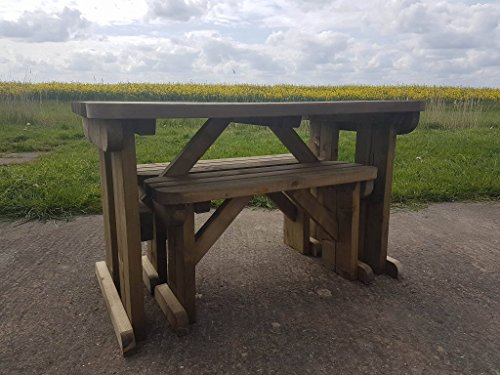 YEWS Compact Rounded Garden Picnic Table and Benches - Space Saving Furniture for Small Spaces - Heavy Duty - Handmade in UK - Pressure Treated - Rustic Brown (5FT)