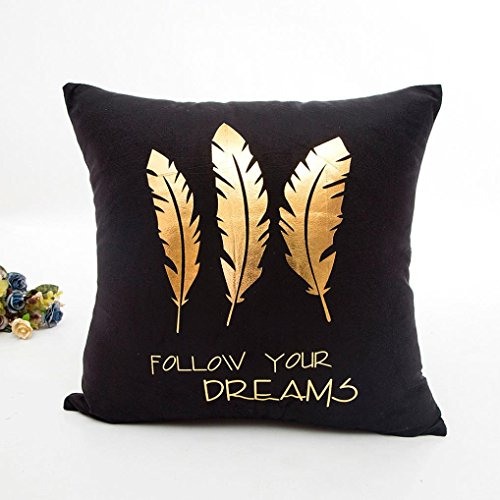 Indexp Gold Foil Printing Festival Throw Cushion Cover Sofa Home Decoration Pillow case (Black G)