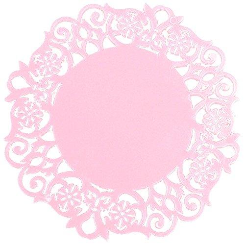 YEARNLY Spitze Blume Deckchen Silikon Coaster Tee Tasse Matten Isolierung Tischset, Runde Silikon Coaster Tischzubehör Hohlsilikon-Untersetzer