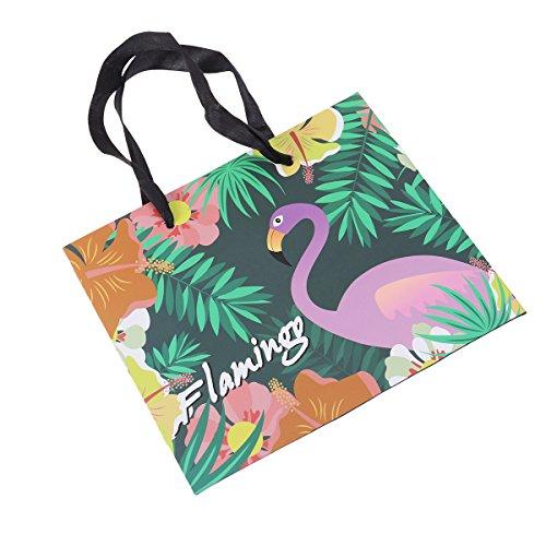 Amosfun 12 stücke Flamingo Party Papier Geschenk Taschen zugunsten Taschen mit Griff für Hochzeit Geburtstag Baby Shower Graduations Party Supplies begünstigt M (Für Hochzeit Taschen Zugunsten)