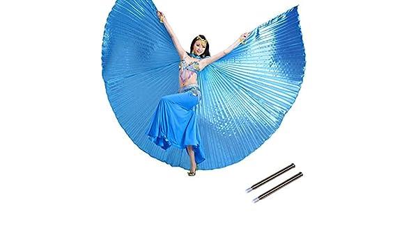 Calcifer /égyptien /égyptienne Belly Dance Isis Ailes dange avec 2/b/âtons t/élescopiques Bleu Ciel