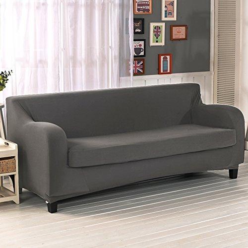 2 Sitzer elastischer Sofabezug Sofahusse für 2-Stück Sofa Grau