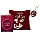 Sky Trends Valentine Day Girls Gifts and Boys Gifts Love Quotations Printed 12x12in Cushion Cover With keychain Greeting message Card For Rose Day Hug day Promise Day Propose Day Set054 title=