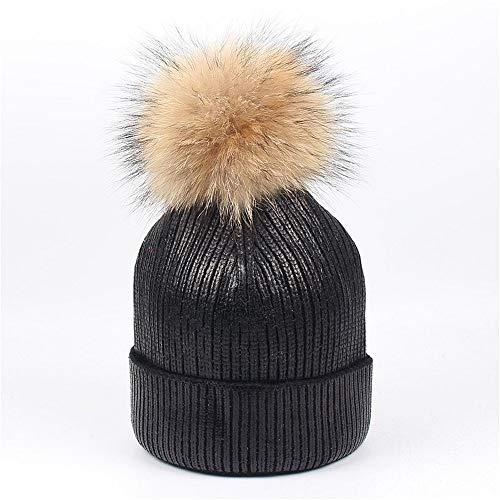 Wolle warme Mütze Pailletten Hairball Womens Winter Stricken tägliche Slouchy Hüte Hut (Farbe : Schwarz)