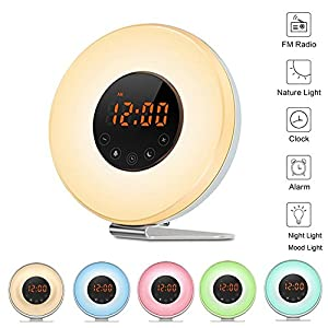 Sunrise Alarm Clock,Wake Up Light with Sunrise Sunset Simulation Brightness Auto Adjustment, 6 Natural Sounds, FM Radio, 6 Colors LED Night Light for Kids Adult and Bedside from Buycitky