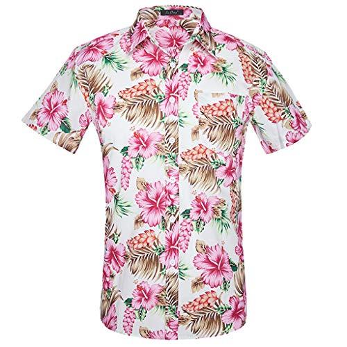 Hawaiisches Hemd der Männer Kurzarm-Strand-Feiertags-Palme-Blumen-Abendkleid Hawaii-Feiertags-beiläufige Hemden übersteigt -