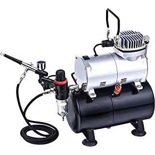 Mini Airbrush Compressor With Tank Complete Kit As186k by SprayMaster