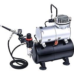 ABEST Kit complet professionnel de compresseur d'aérographe avec le réservoir d'air pour l'art d'ongle de tatouage d'ongles avec le pistolet pulvérisateur d'AirBrush de double action