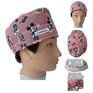 Mickey Mouse OP-Kappe für kurze Haare. Handtuch im vorderen Bereich, leicht abnehmbar und mit verstellbarem Spanner einsetzbar. Personalisiert mit Namen in Option Handmade