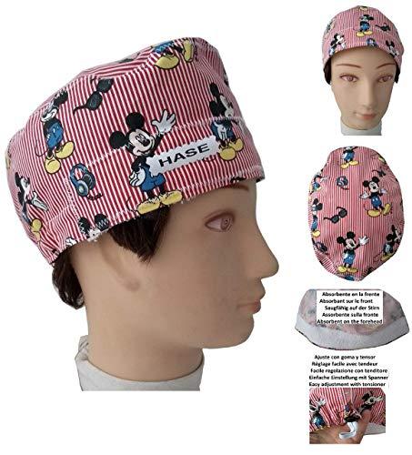 Leichte Uniform (Mickey Mouse OP-Kappe für kurze Haare. Handtuch im vorderen Bereich, leicht abnehmbar und mit verstellbarem Spanner einsetzbar. Personalisiert mit Namen in Option Handmade)