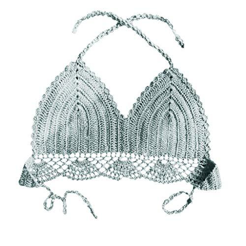 Honestyi Frauen Plus Size Print Tankini Badeanzug Badeanzug Beachwear Gepolsterte Badebekleidung Damen Hand Hook Knit Bikini gewickelt Lady Frau Sexy Wild Split Badeanzug(Grün,S) -