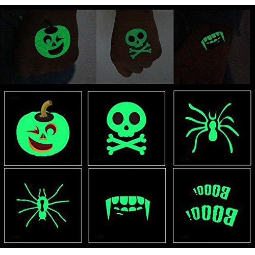 Animatronics Halloween Requisiten (Amaoma 6 Stück Halloween Nacht Tattoo Aufkleber, Halloween Leuchtende Aufkleber, Glänzende Tattoos, Abnehmbare Streich Spezielle Make-up Aufkleber, Makeup Stützen, Party Tanz Lustig, Umweltfreundlich Wasserdicht Temporäre Tattoo)