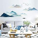 Sayopin Sticker Mural, Paysage de Montagne Autocollant Mural Comme Decoration Murale Pour Chambre A Coucher Salon Chambre D'enfant, Art Bricolage Decoration Murale Stickers Muraux, 61x161cm
