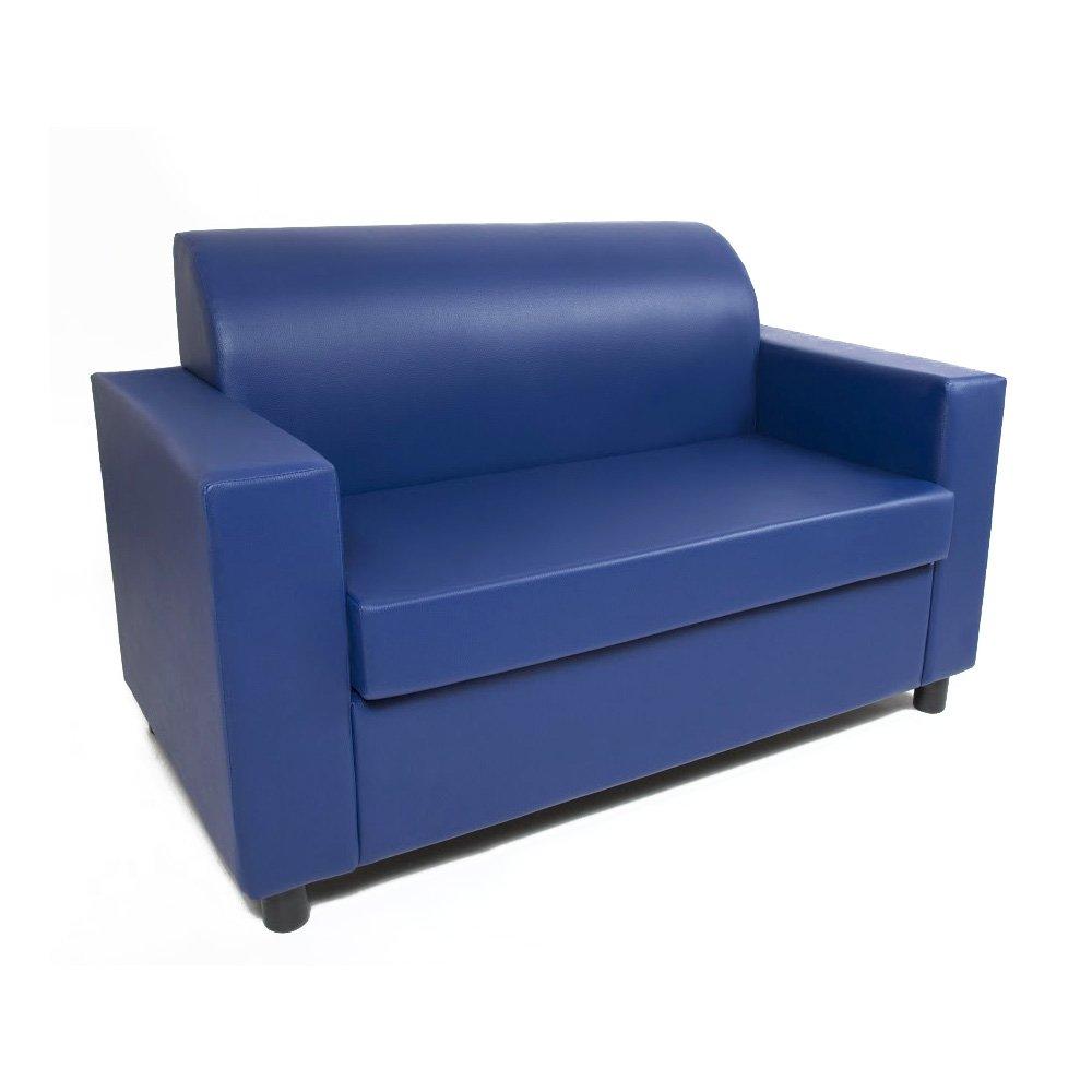 Divano 2 Posti Design.Visson Divano 2 Posti Con Braccioli Divanetto Attesa Design In Eco Pelle Blu Cobalto Casame