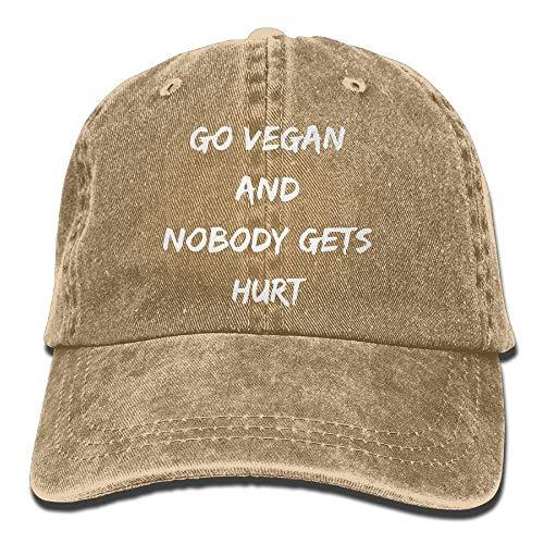 2019 Adult Fashion Cotton Denim Baseball Cap Go Vegan and Nobody Gets Hurt-1 Classic Dad Hat Adjustable Plain Cap (Halloween Chicago Ball 2019)