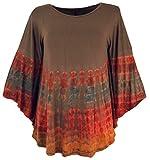 Guru-Shop Batik Poncho, Tunika, Boho Kaftan, Maxibluse, Damen, Cappuccino, Viskose, Size:One Size, Blusen & Tunikas Alternative Bekleidung