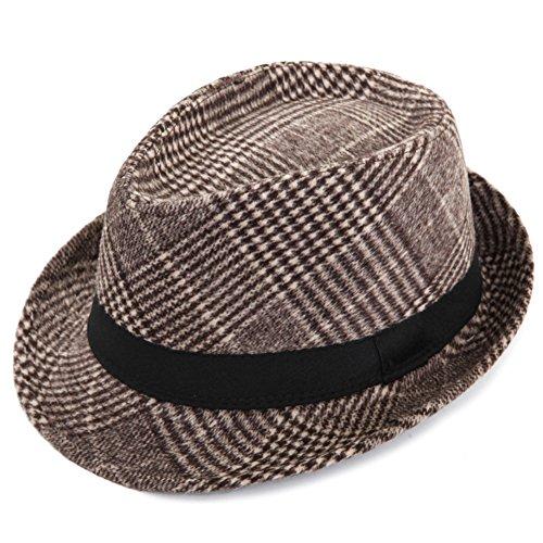 YJRA DHDB Rétro Petit Chapeau/Aucun Jazz/Mode Fourrure Feutrée Chapeau/Cap Scène