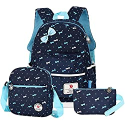 Vbiger- Mochila infantil para niña, con bolsa para almuerzo y bolsito para el móvil, Azul marino