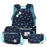 Vbiger Schulrucksack Mädchen Schulrucksack Schultasche Kinderrucksack Schulranzen Daypacks Backpack für Mädchen 3-In-1 Schulrucksack für Schule und Freizeit, Dunkelblau