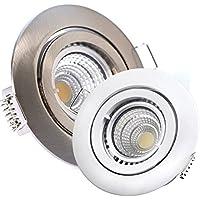 5 x LED-Einbaustrahler PAGO 230V - DIMMBAR 5,5 Watt (=5 x 60 Watt Leuchtkraft) - Farbe: Edelstahl gebürstet - inkl. austauschbarem LED-Leuchtmittel in Warm-Weiß