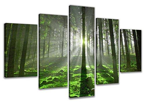 Visario 6312 Bild auf Leinwand Wald fertig gerahmte Bilder 5 Teile Marke original, 200 x 100 cm