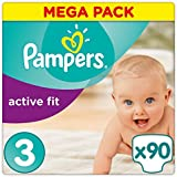 Pampers - Active Fit - Couches Taille 3 (4-9 kg/Midi) - Mega Pack (x90 couches)